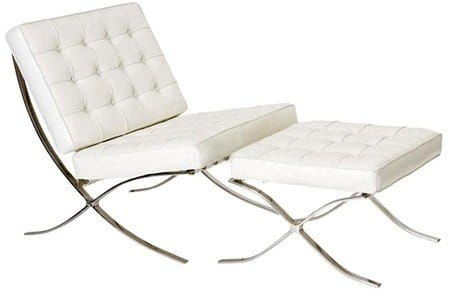Biały Fotel z podnóżkiem inspirowany proj. Barcelona