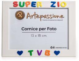 Drewniana ramka na zdjęcia z napisem Super Zio Tvb i ozdobiona sercami, wielokolorowa, 13 x 18 cm