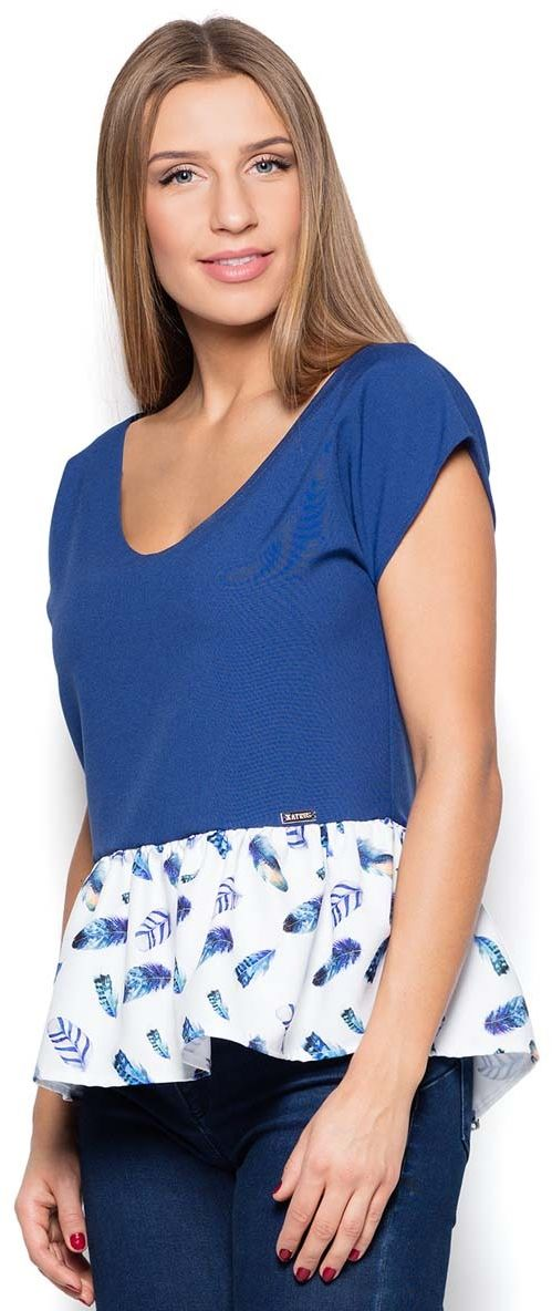 Niebieska bluzka z wzorzystą falbanką