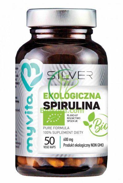 Spirulina 100% BIO 600 mg, Kapsułki SILVER PURE Myvita