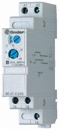 Przekaźnik czasowy 1CO 8A 24-240V AC/DC,BI: opóźnione otwarcie styku po zaniku napięcia zasilania, wykonanie TRAKCYJNE 80.61.0.240.2000T