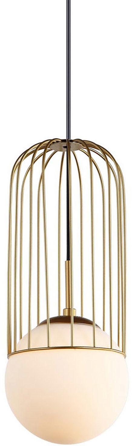 Italux lampa wisząca Matty MDM-3939/1 GD złota druciana z szklanym kloszem 15cm