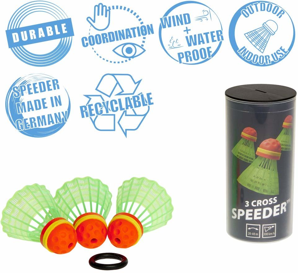 Speedminton CROSS Speeder  3-pak Speed badminton/Crossminton Outdoor Ball z pierścieniem wentylacyjnym