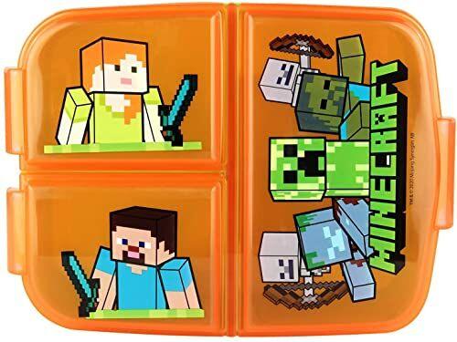 POS 33168 - śniadaniówka z motywem Minecraft z 3 przegródkami, około 14 x 18,5 x 5,5 cm, z tworzywa sztucznego, nie zawiera BPA i ftalanów, idealna na przerwę śniadaniową, do przedszkola i szkoły