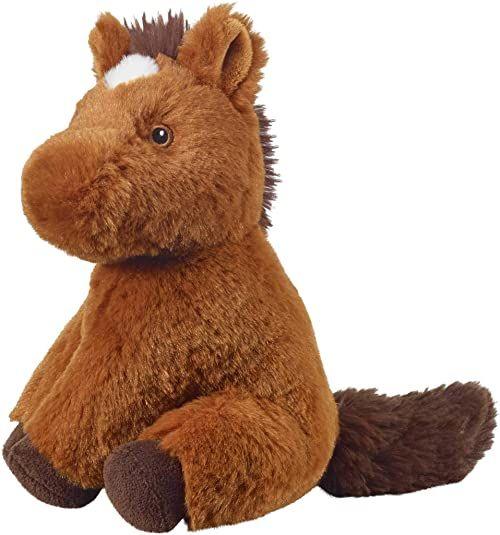 Bauer Spielwaren I Like My Planet - koń: Przytulanka z miękkiego pluszu, wyprodukowana z przetworzonych butelek PET, w 100% z recyklingu, siedząca, 20 cm, brązowa (12929)