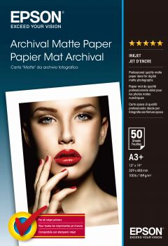 Papier A3+ EPSON Archival Matte 189g (50 ark) (C13S041340)