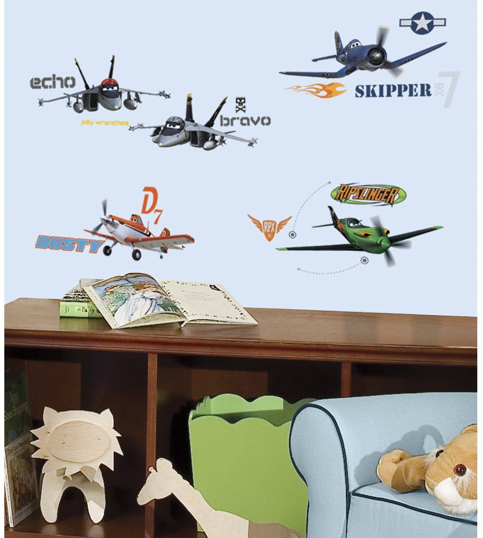 RoomMates naklejki ścienne dla dzieci z możliwością wielokrotnego użytku Disneya Disney samoloty, wielokolorowe