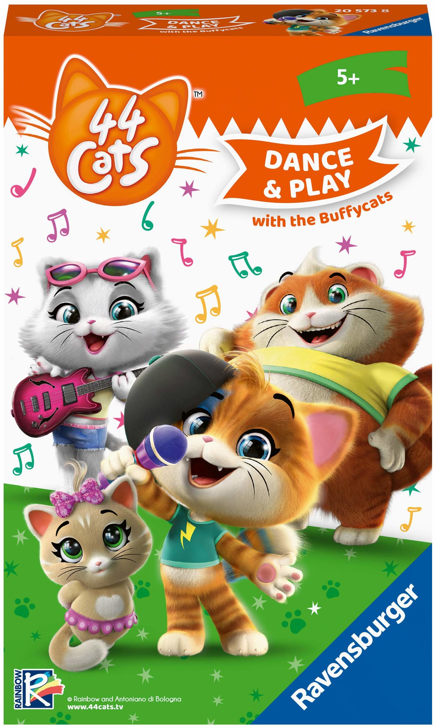 Ravensburger Gry z akcentami 20573 - 44 Cats: Sing and Dance with the Buffycats  gra poszukiwań i ruchu dla fanów od 5 lat