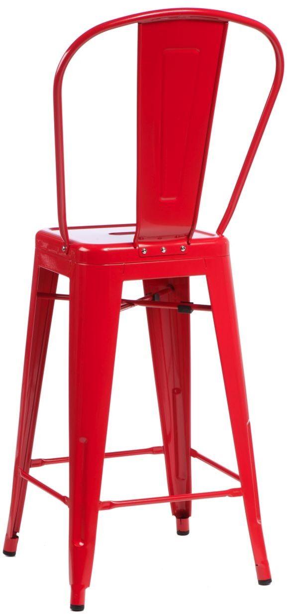 D2 Stołek barowy ParisBack czerwony inspirowany Tolix