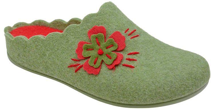 Kapcie MANITU 320524-7 Grun Zielone Pantofle domowe Ciapy zdrowotne - Zielony Czerwony