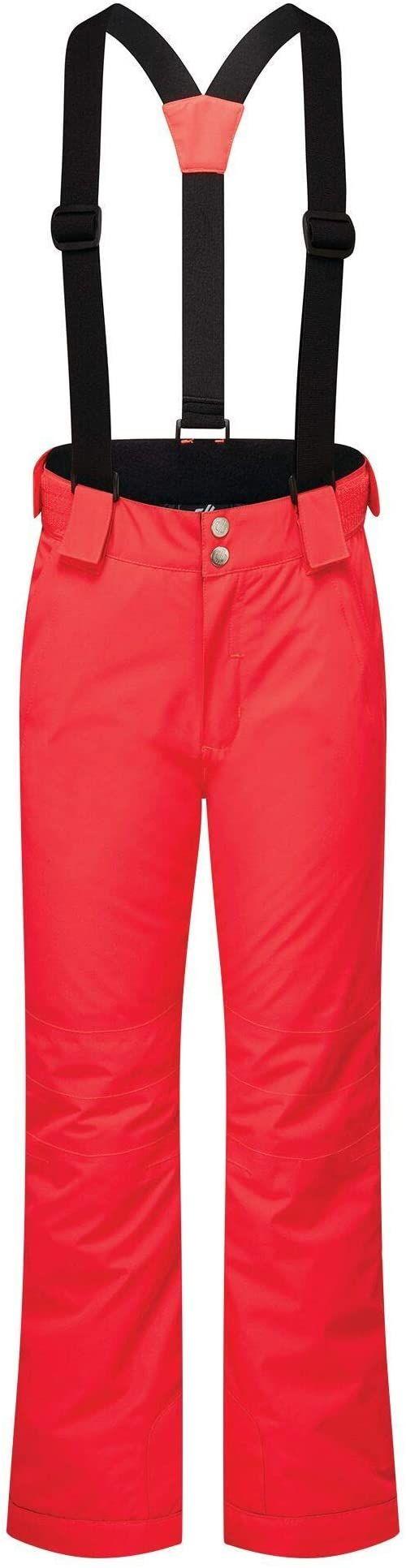Dare2b motyw dla dzieci wodoodporne oddychające klejone szwy odblaskowe detale spodnie salopetty, neonowe różowe, 3-4