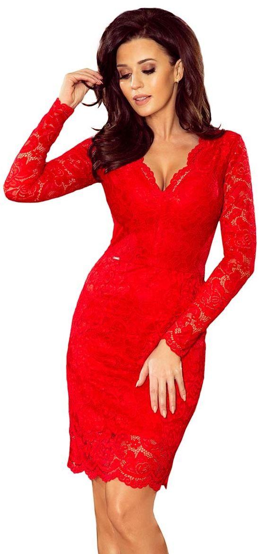 Czerwona Koronkowa Sukienka Koktajlowa
