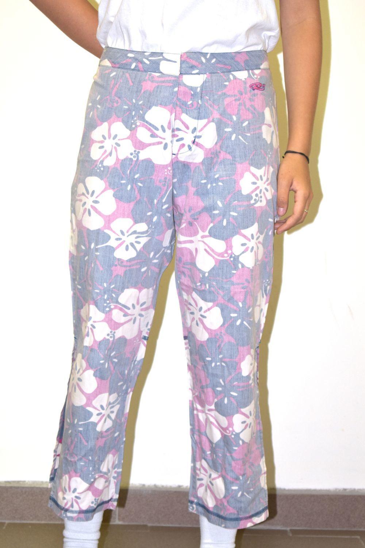 spodnie damskie RUSTY R FLOWERS PANTS White