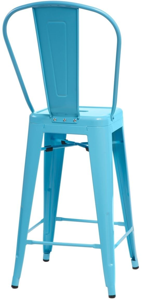 D2 Stołek barowy ParisBack niebieski inspirowany Tolix
