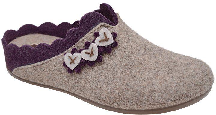 Kapcie MANITU 320574-8 Beige Beżowe Pantofle domowe Ciapy zdrowotne - Beżowy Fioletowy