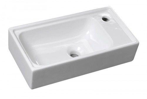 Mała umywalka nablatowa/podwieszana 50x25x12 cm z otworem na baterię, biała