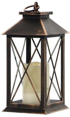 LAMPION Z ŚWIECĄ LED, Latarnia, ŚWIECZNIK, Znicz CZARNY wys 30,5 cm