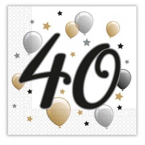 Serwetki papierowe STAR na 40 urodziny, 20 szt.