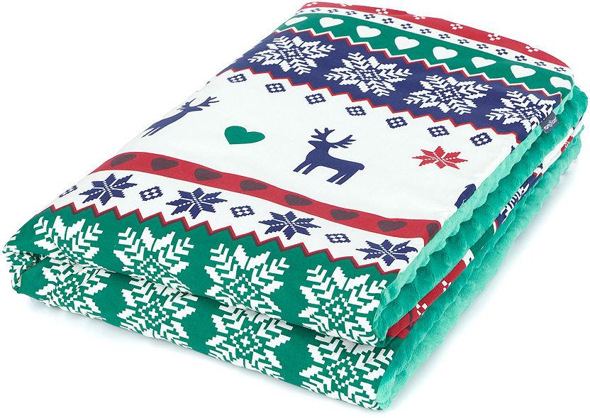 MAMO-TATO Kocyk Minky dla niemowląt i dzieci 75x100 Reniferki / zielony