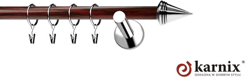 Karnisze Nowoczesne NEO Prestige pojedynczy 19mm Stożek INOX - mahoń