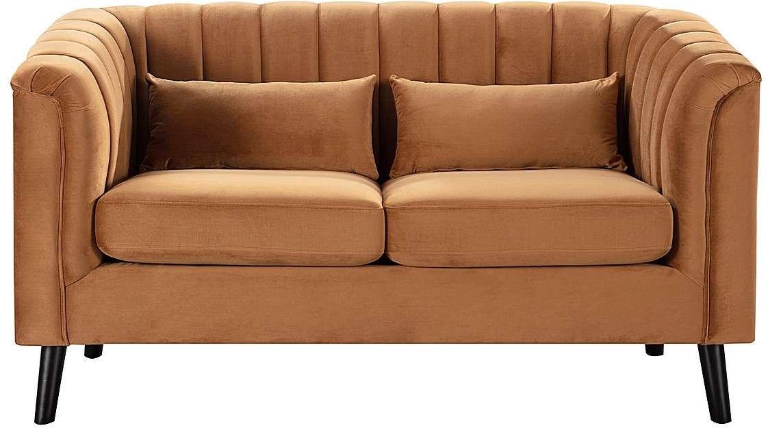 Sofa Meriva Velvet caramel 2-os., 156,5 x 83,5 x 88 cm