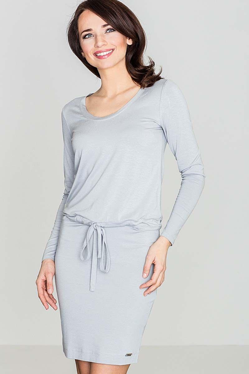 Ciemno-szara wygodna sukienka midi z troczkami w talii