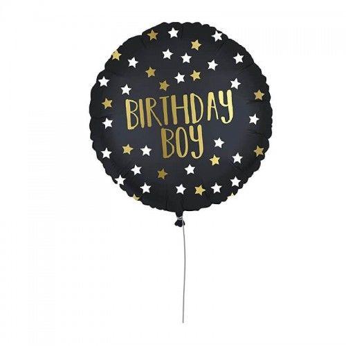 Balon foliowy Birthday Boy, czarny z gwiazdami