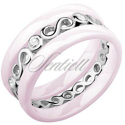 Dwa różowe pierścionki ceramiczne i pierścionek srebrny z cyrkoniami - nieskończoność - różowy