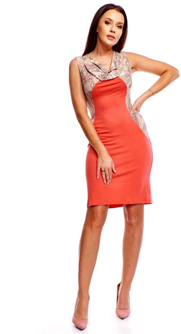 Sukienka FSU374 MULTIKOLOR KORALOWY
