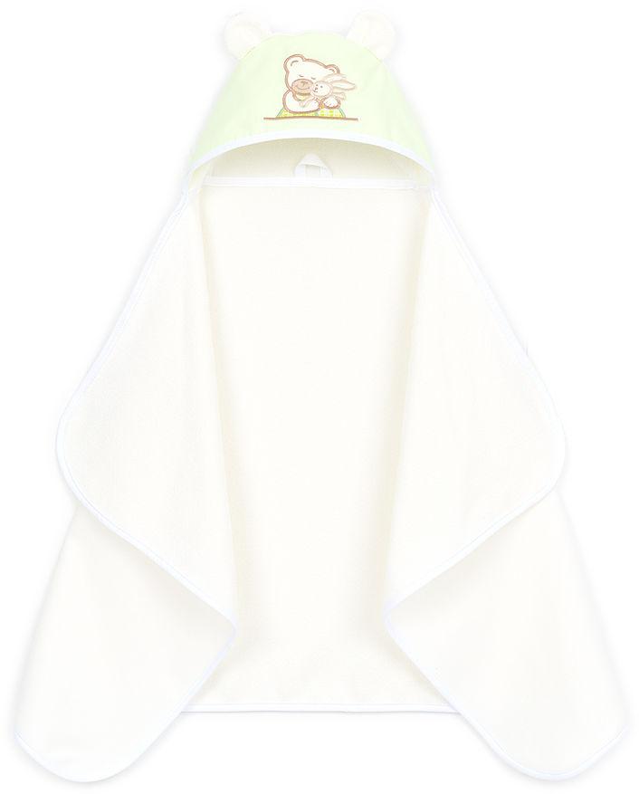 MAMO-TATO Okrycie ręcznik kąpielowy z kapturem 70x120 - Pistacja / Ecru