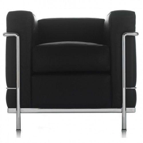 Czarny Fotel Skóra Naturalna Inspirowany Projektem LC2