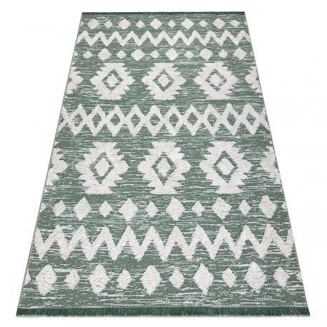 Dywan MOROC Zygzak 22319 Ekologiczny, EKO SIZAL frędzle - dwa poziomy runa zielony / krem, z bawełny recyklingowanej 78x150 cm