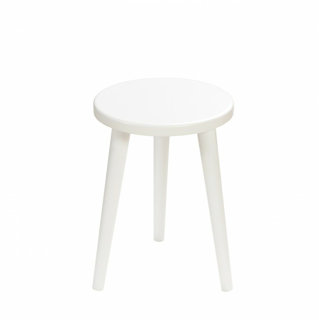 Taboret okrągły ze sklejki Crystal White, Wykończenie nogi - Biały, Wysokość - 340, Wymiar siedziska (Średnica) - 300