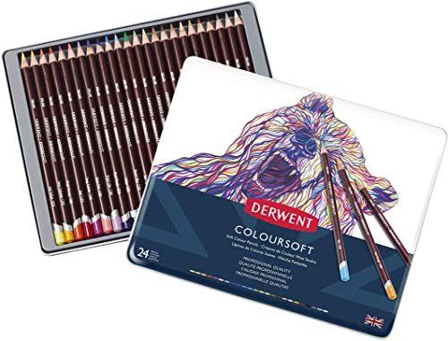 Derwent, 24 Kredki do Kolorowania i Rysowania Derwent Coloursoft, Metalowe Pudełko (0701027)