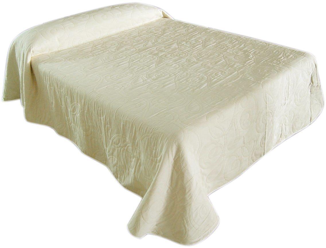 Eysa 235 cm poliester bawełna Miel dwustronna żakardowa narzuta na łóżko, biała