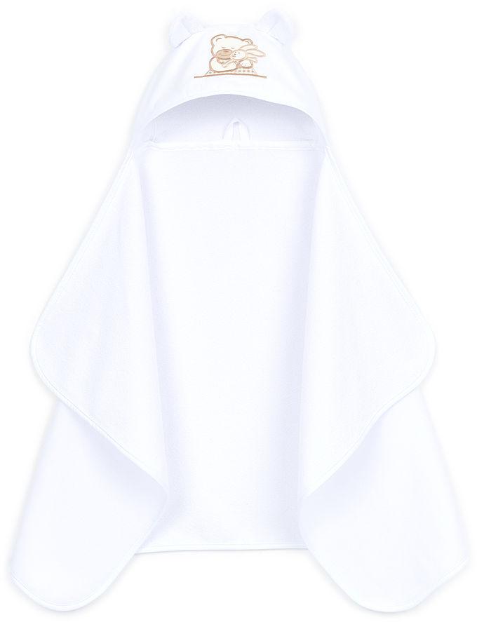 MAMO-TATO Okrycie ręcznik kąpielowy z kapturem 70x120 - Biały