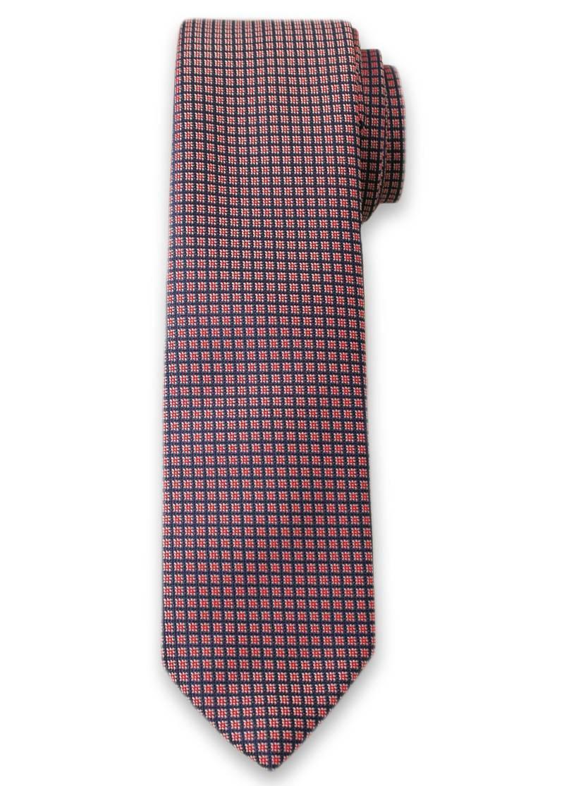 Krawat Męski w Drobne Kwadraciki, Figury Geometryczne - 6 cm - Alties, Różowy KRALTS0101