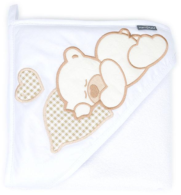 MAMO-TATO Okrycie Kąpielowe z kapturkiem - Śpiący miś / biały