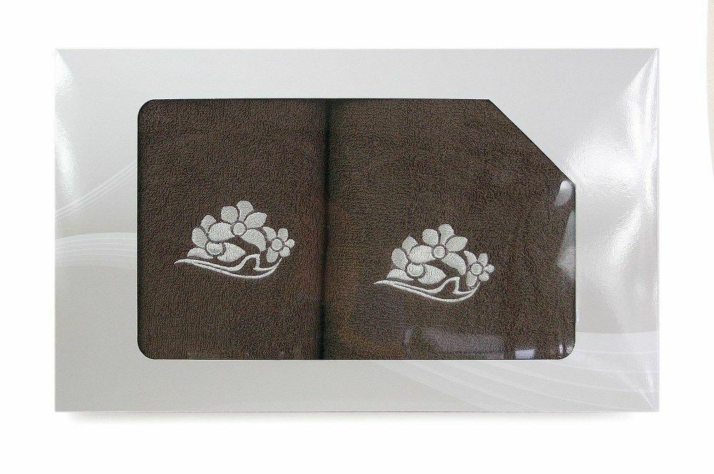Komplet ręczników w pudełku 2 szt VIVA brązowy wzór nr 4
