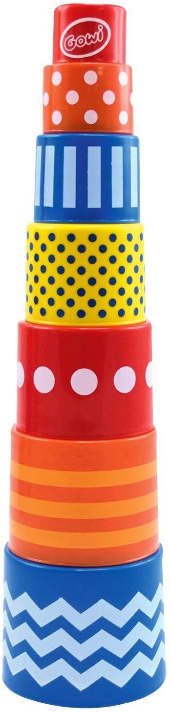 Gowi 453-41 piramida Retro, 7-częściowy zestaw do układania w stos i wtykanych zabawek