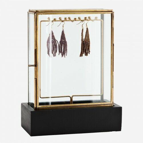 Szklana szkatułka z drewnianą podstawą Madam Stoltz