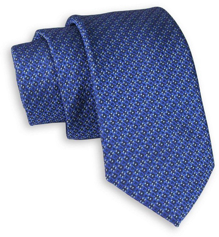 Niebieski Elegancki Krawat -Chattier- 6,5cm, Męski, Wzór Geometryczny KRCHBASIC1135