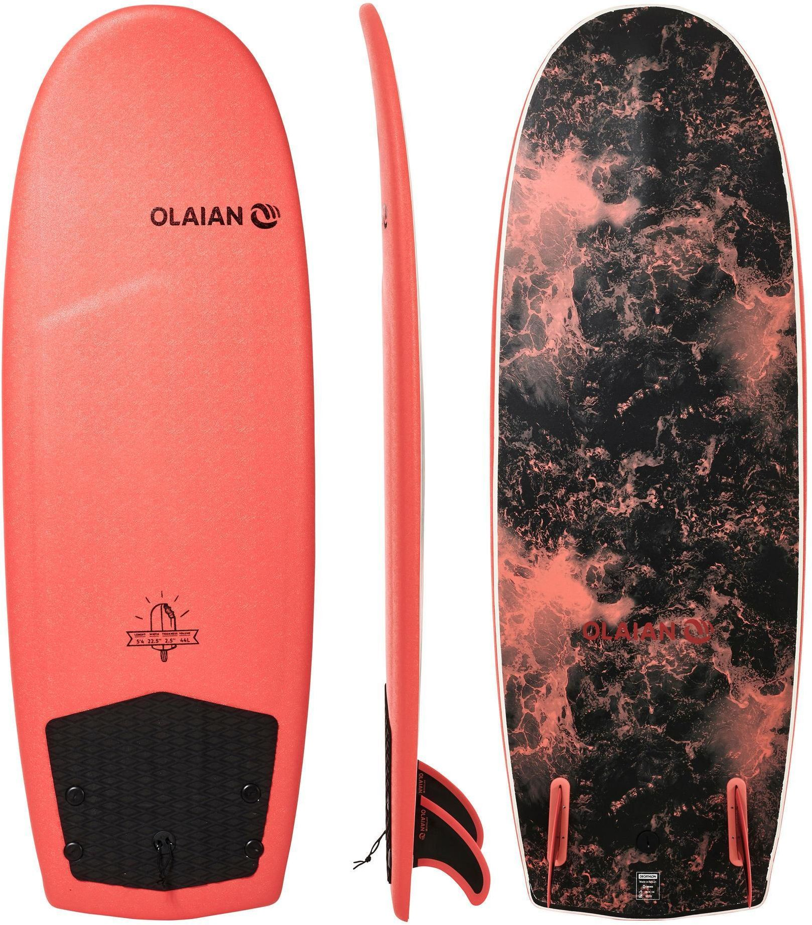 """Deska Surfingowa Z Pianki 900 5''4"""" Z 2 Statecznikami"""