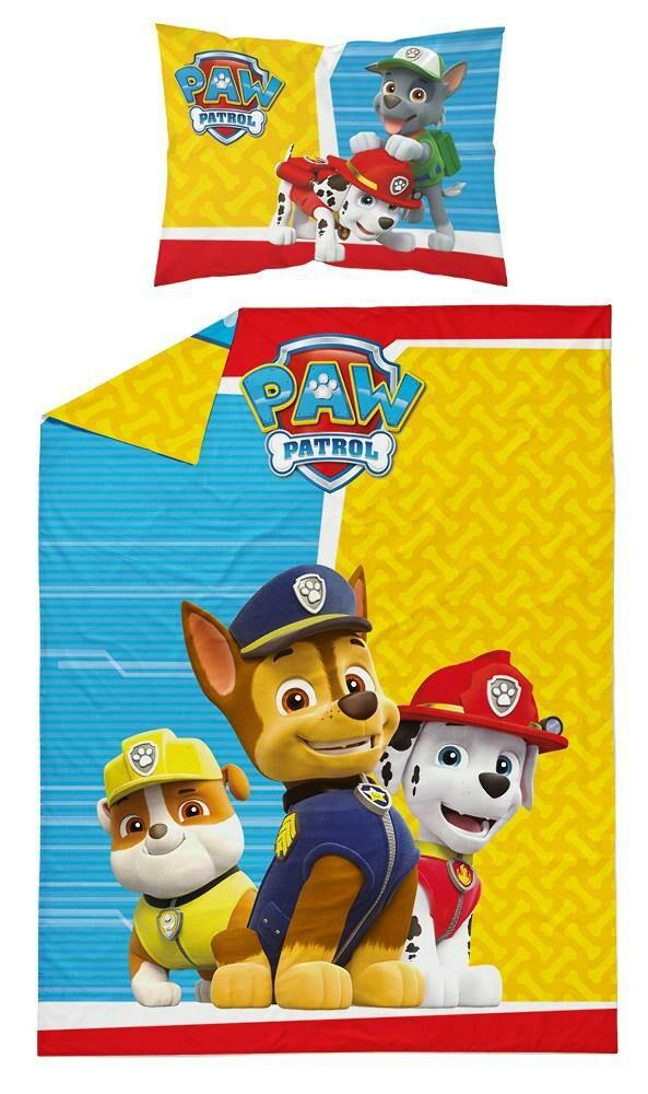Pościel dziecięca 100x135 Psi Patrol Paw Chase Marshall Rubble Rocky psy żółta niebieska 9537