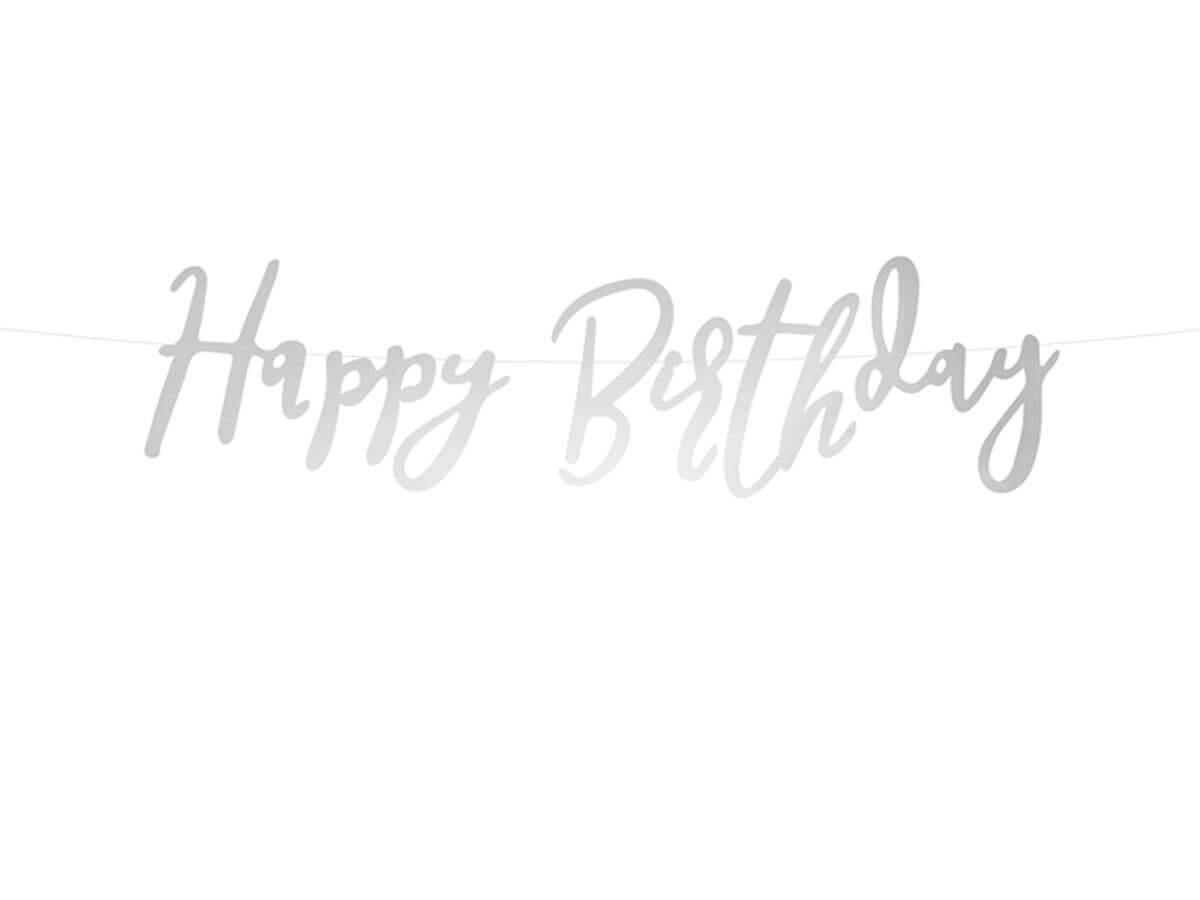 Baner srebrny z napisem Happy Birthday - 62 cm - 1 szt.