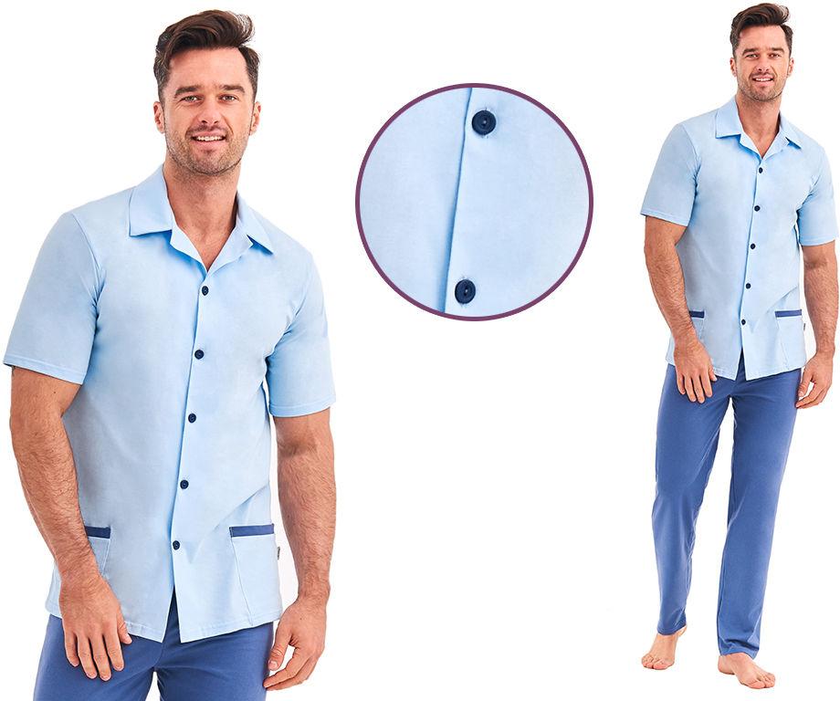 Piżama męska FELIX: błękit/granat