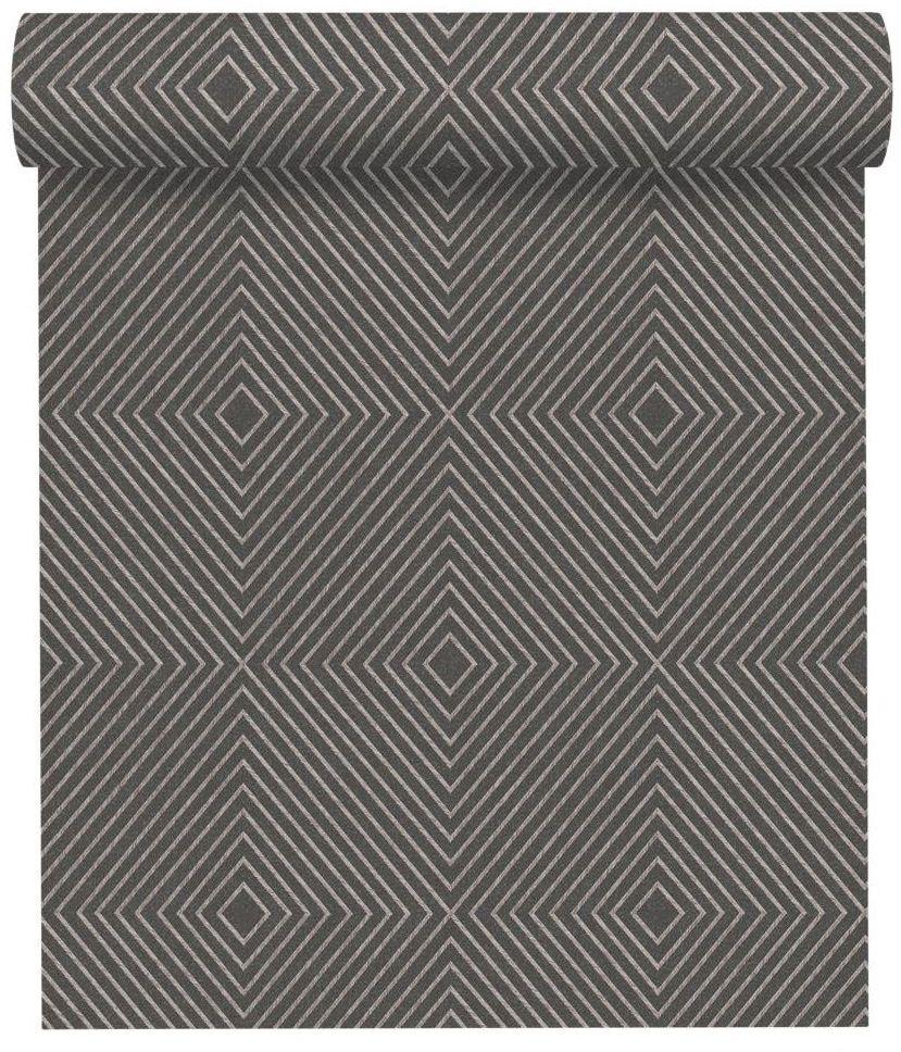 Tapeta w geometryczny wzór czarno-szara winylowa na flizelinie