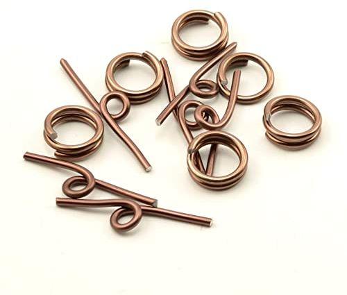 Vaessen Creative Alu Deco zapięcie z przetyczką 6 sztuk, aluminium, czekoladowy brąz, 0,5 x 0,5 x 0,2 cm