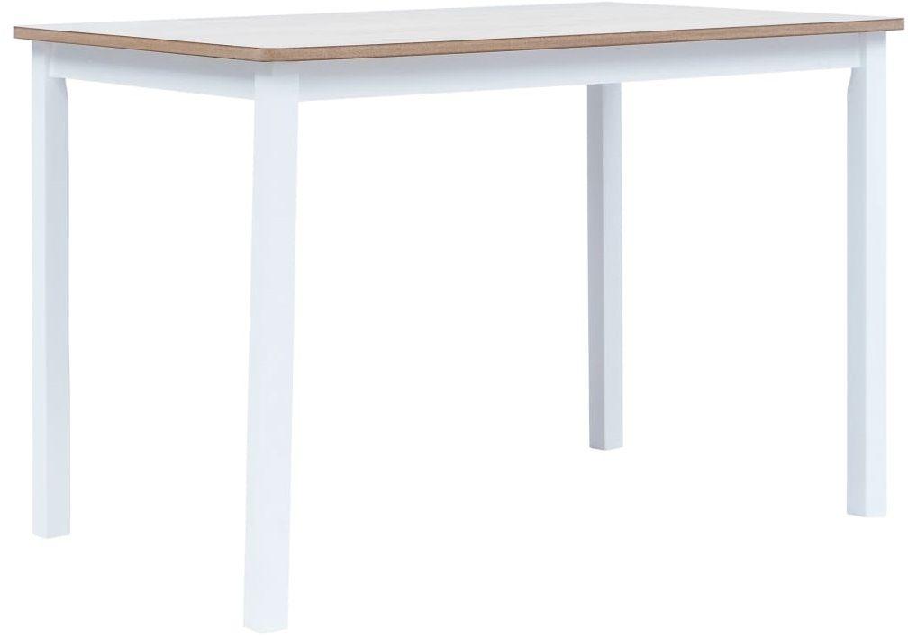 Biało-brązowy stół z drewna kauczukowego  Razel