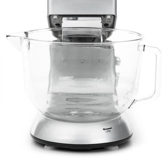 Klarstein Bella Argentea 2G Robot kuchenny ze szklana misa 1200W 2,5/5,2l srebrn